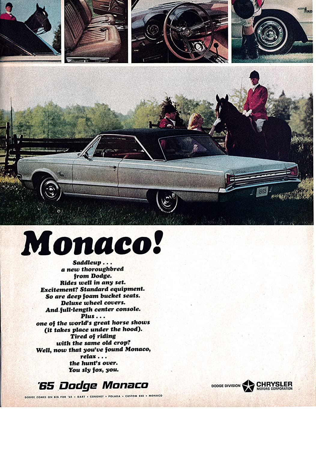 Amazon com : 1965 Dodge Monaco Original 13 5 * 10 5 Magazine Ad