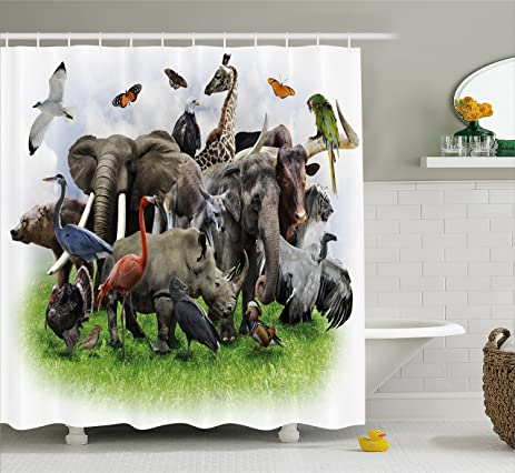 Wildlife Decor Shower Curtain By Ambesonne Digital Collage Of Wild Animals With African Safari