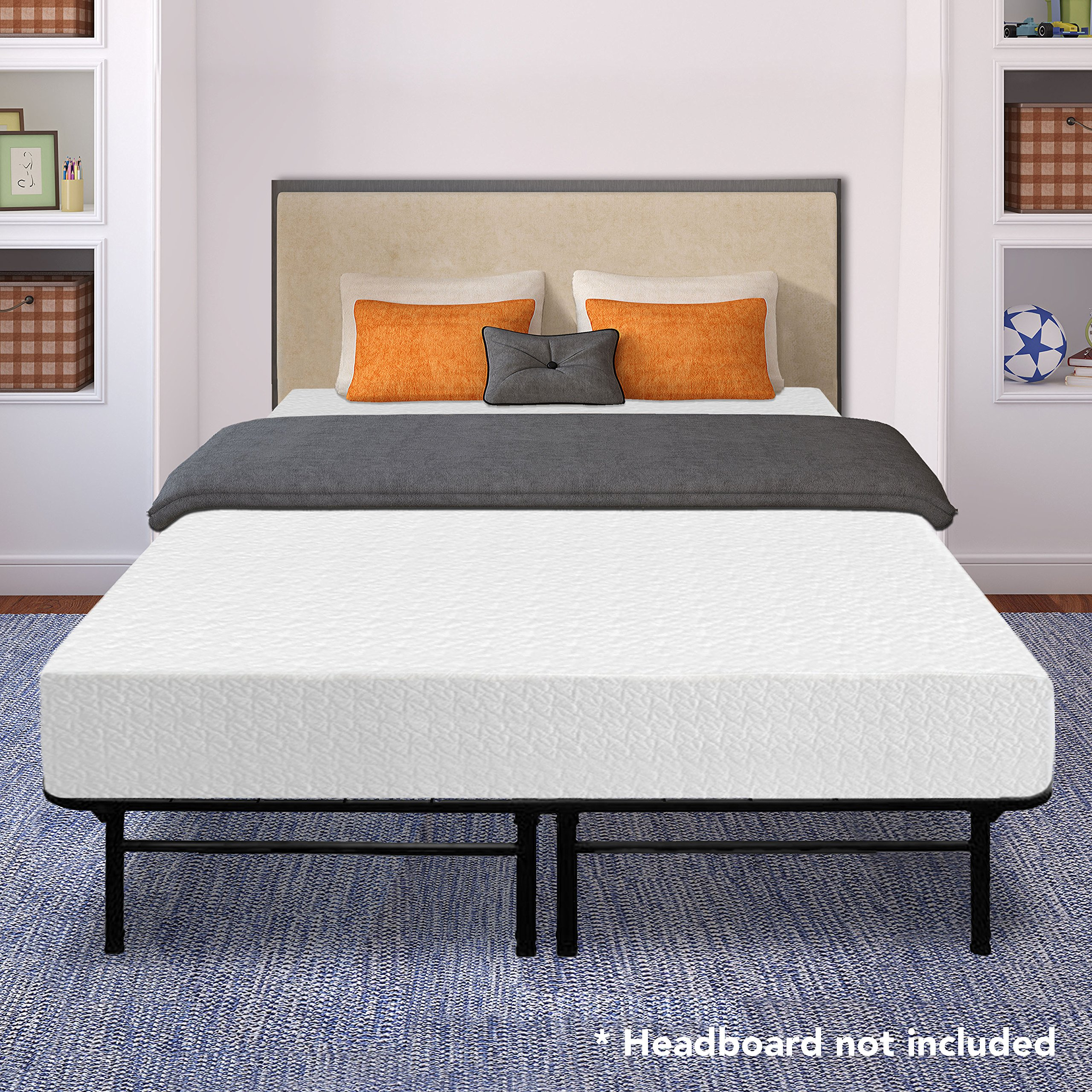 Best Price Mattress 10'' Memory Foam Mattress and 14'' Premium Steel Bed Frame/Foundation Set, King