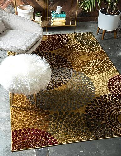 Unique Loom Barista Collection Modern Circular Contemporary Beige Area Rug 5' 0 x 8' 0