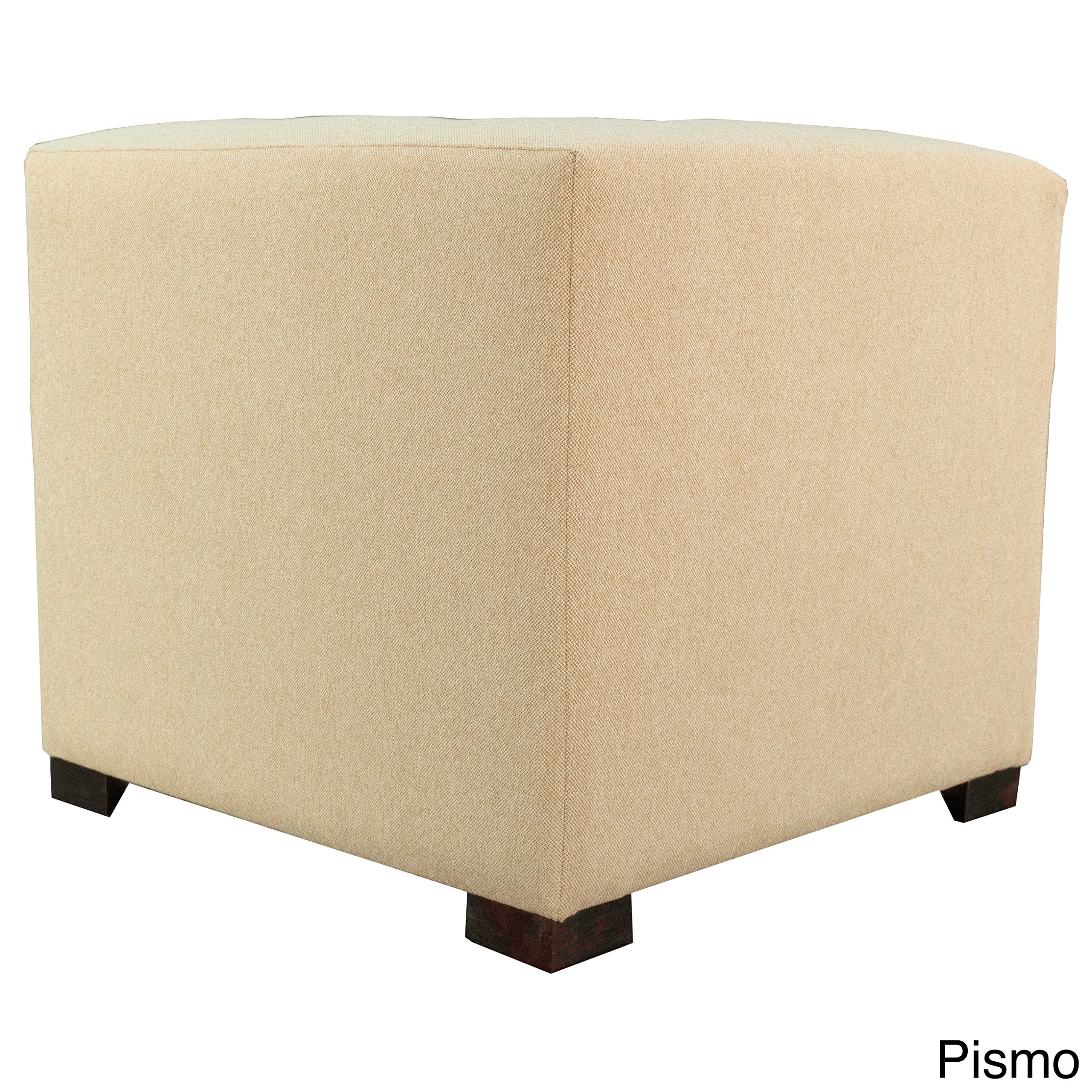 MJL Furniture Designs Merton Collection, Fabric Upholstered Modern Cube Foot Rest Ottoman with 4 Button Tufting, Dawson Series, Pismo