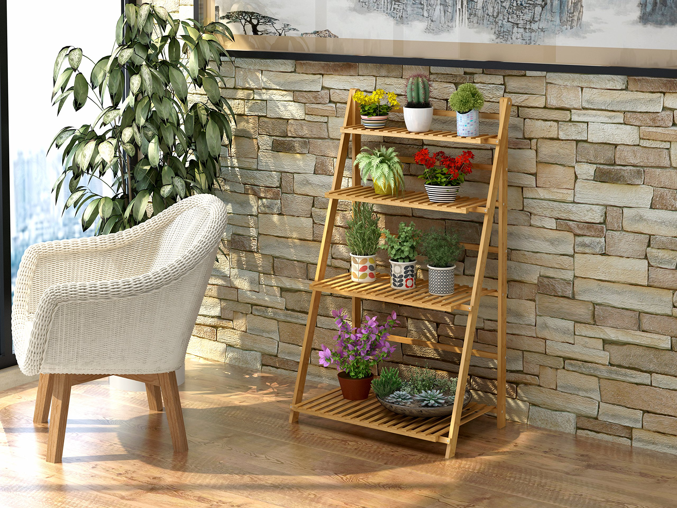 Polar Aurora Plant Flower Stand Rack Shelf 4-Tier Bamboo Foldable Pot Racks Planter Organizer Display Shelves by Polar Aurora