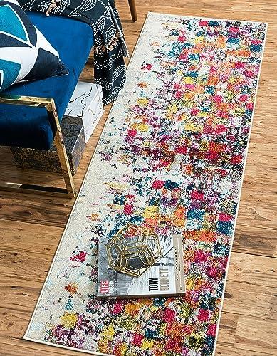 Unique Loom Estrella Collection Colorful Abstract Multi Runner Rug 2 2 x 6 7