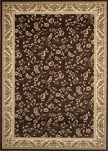 Floral Brown Transitional 3'3″ X 5'3″ Area Rug