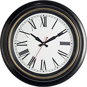 Bernhard Products Large Wall Clock 18 Inch Quality Quartz Silent Non Ticking, Battery Operated for Home/Living Room/Over Fireplace, Beautiful Decorative Timeless Stylish Clock, Dark Brown