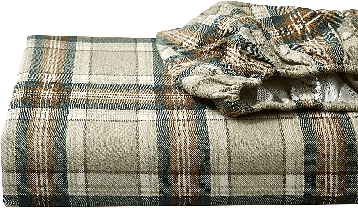 Eddie Bauer - Flannel Collection - 100% Premium Cotton Bedding Sheet Set, Pre-Shrunk & Brushed For Extra Softness, Comfort, and Cozy Feel, Twin, Edgewood Plaid
