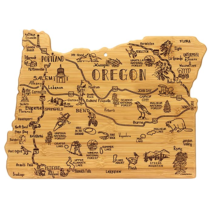 Totally Bamboo Oregon State Destination Bamboo Serving and Cutting Board