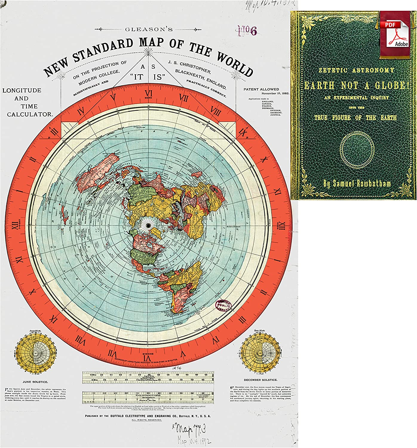 Gleason Flat Earth Map Amazon.com: Flat Earth Map   Gleason's New Standard Map of the