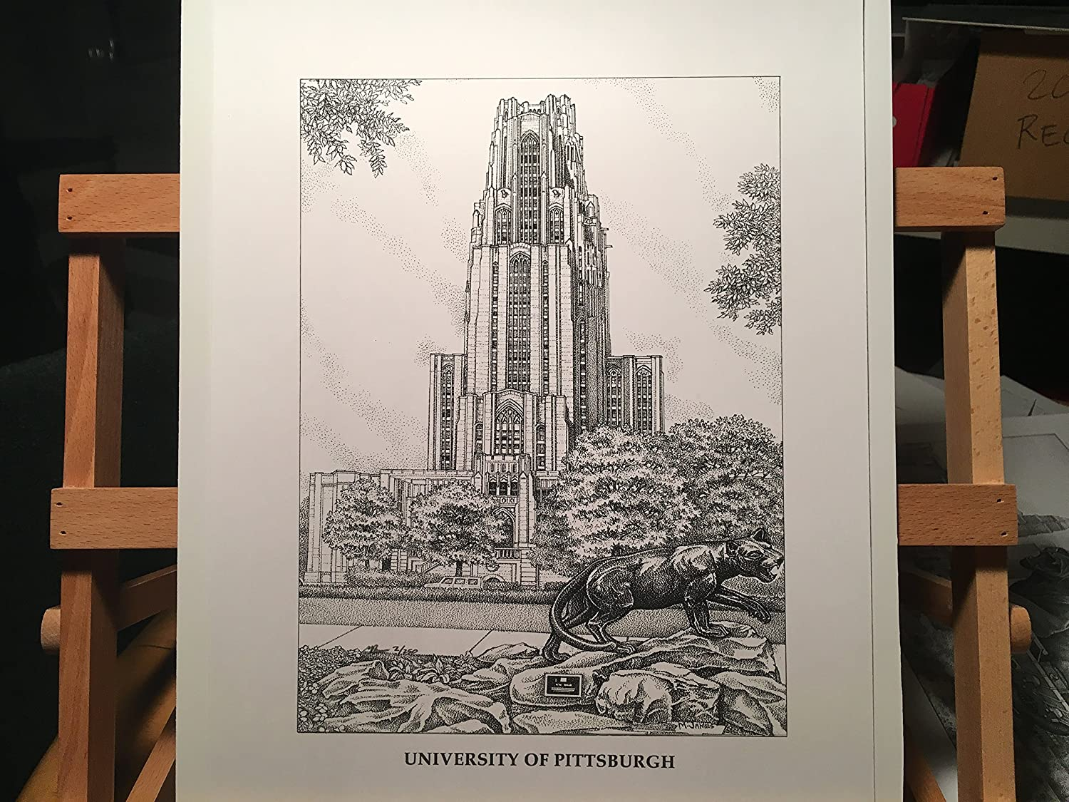 University of Pittsburgh - Cathedral of Learning 11x14 hand-drawn pen and ink print