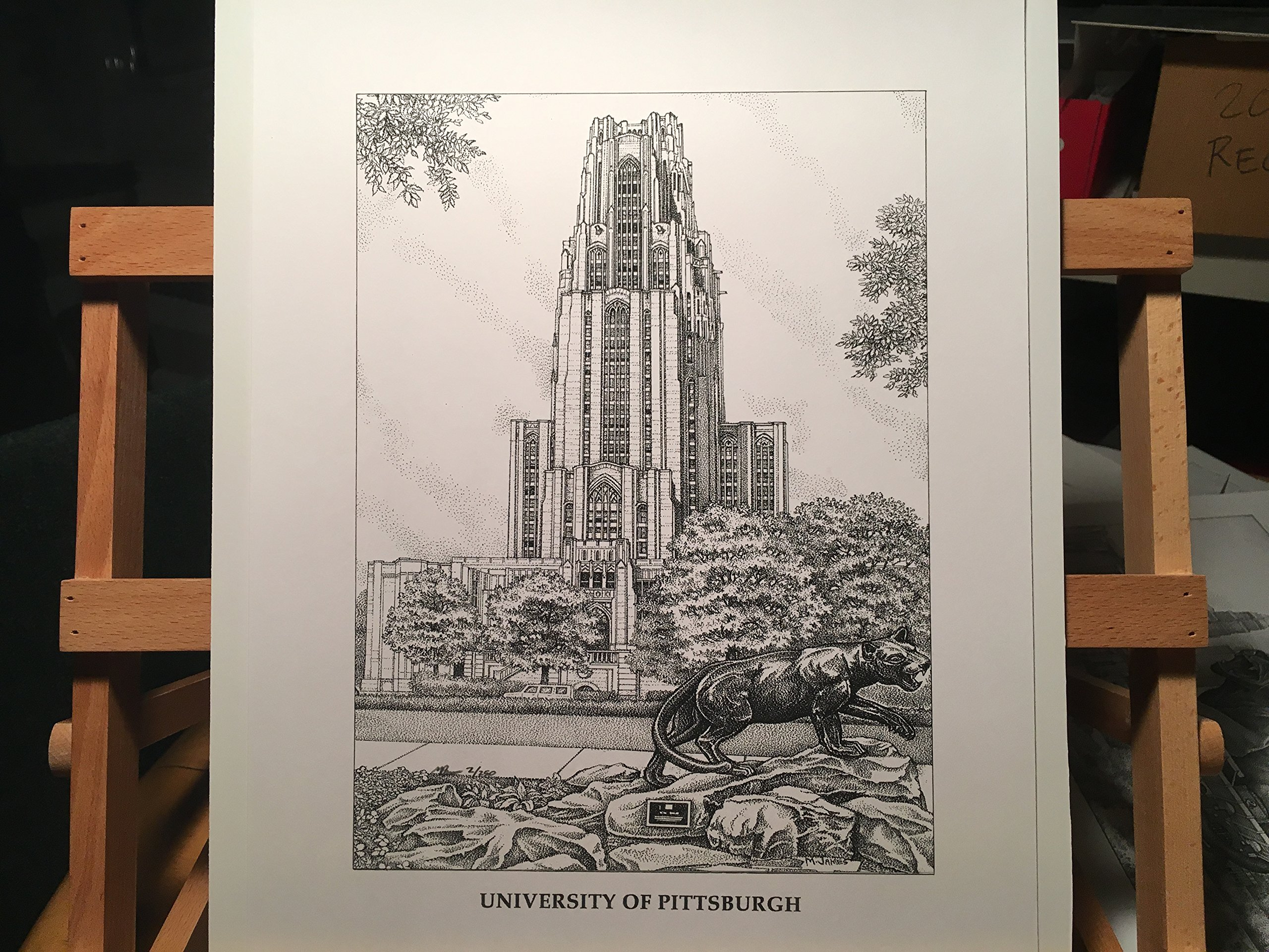 University of Pittsburgh - ''Cathedral of Learning'' 11''x14'' hand-drawn pen and ink print