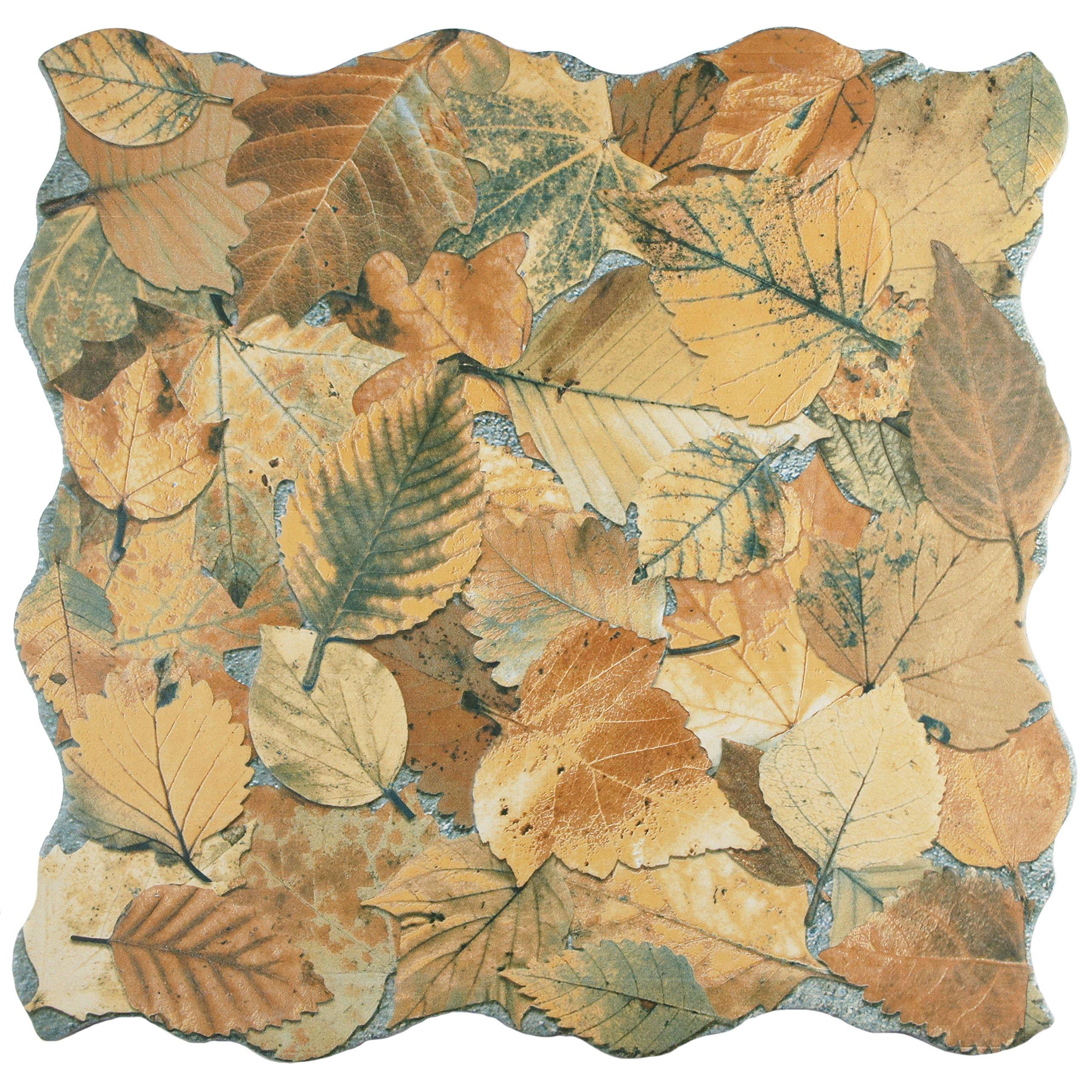 SomerTile FEM18OTO Autumno Porcelain Floor and Wall Tile, 17.75'' x 17.75'', Brown/Beige/Grey/Green