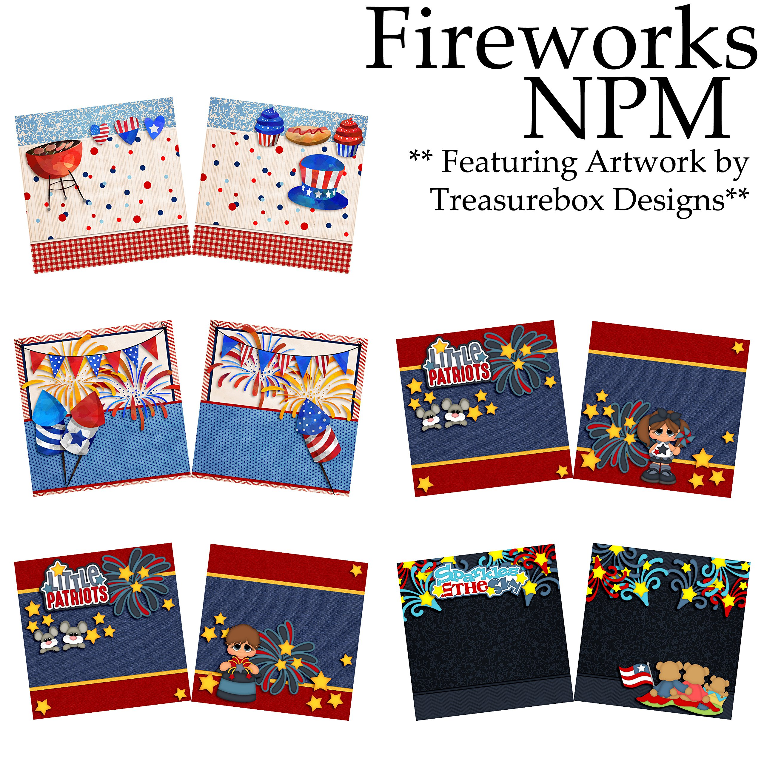 FIREWORKS Non-Photo-Mat Scrapbook Set - 5 Double Page Layouts