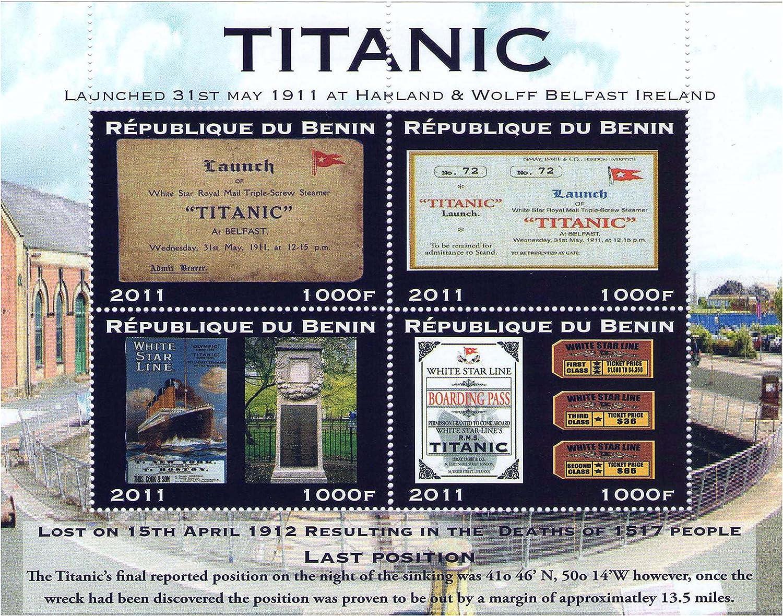 Stampbank Titanic Lanzamiento Cuatro Carteles Antiguos y entradas - 4 Hoja de Sello / República de Benin / MNH: Amazon.es: Juguetes y juegos