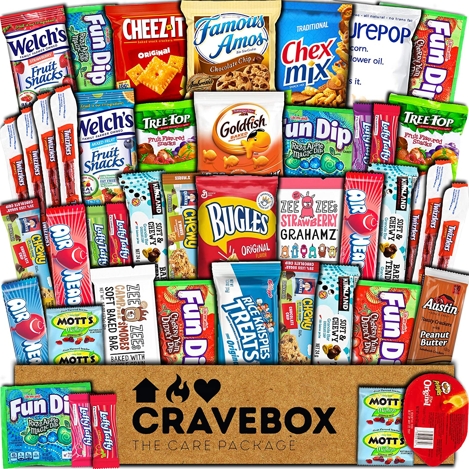 CraveBox Care Package (45 Count) Snacks Cookies Bars Chips Candy Ultimate Variety Gift Box Pack Assortment Basket Bundle Mixed Bulk Sampler Treats College Students Office Fall Final Exams Christmas