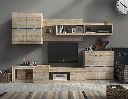 Homely Mueble modular para salón IRON de 280 cm. color roble con ...