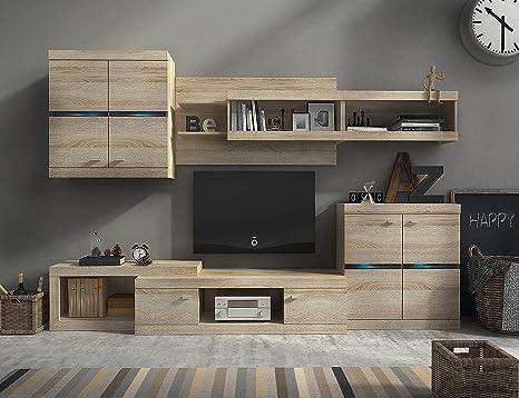 Homely Mueble Modular para salón Iron de 280 cm. Color Roble ...