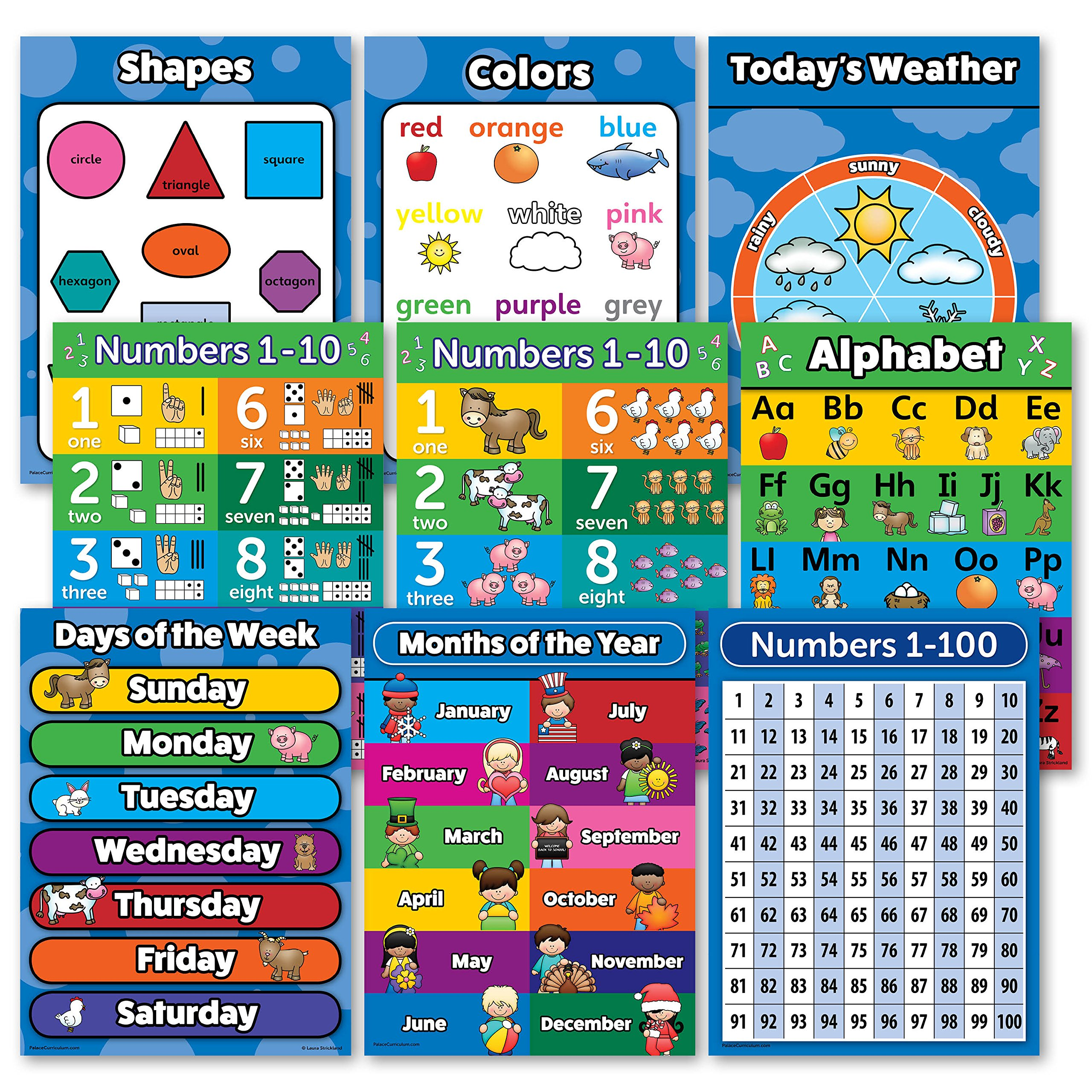 Toddler Learning Poster Kit - Set of 9 Educational Wall Posters for ...