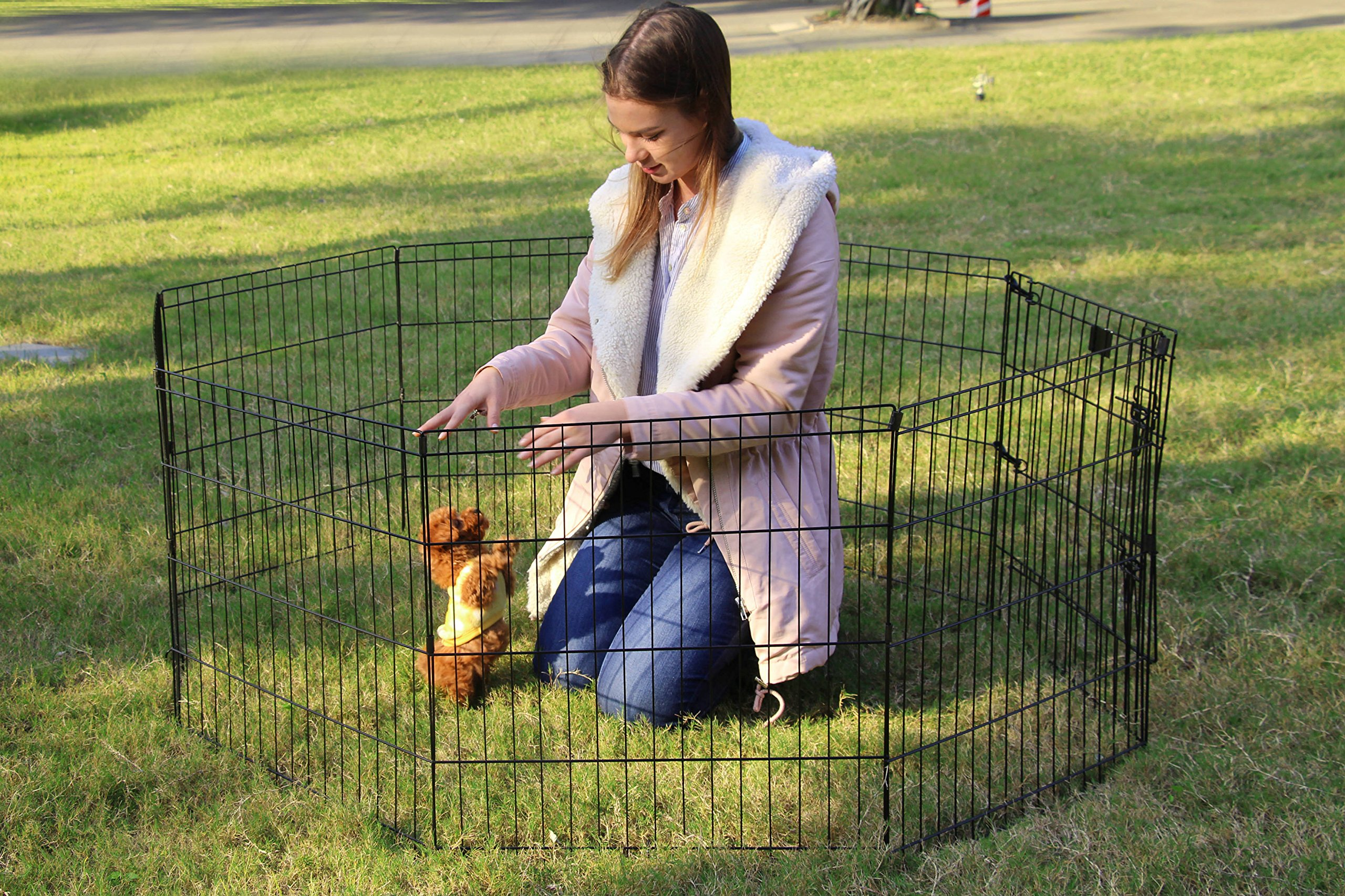 PEEKABOO Pet Playpen Dog Fence Foldable Exercise Pen Yard for Cats Rabbits Puppy Indoor Outdoor - 24'' Black by PEEKABOO (Image #3)
