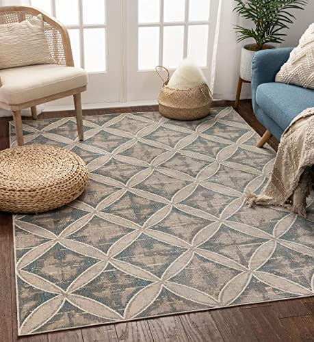 Willow Trellis Beige Blue Moroccan Area Rug 9×13 8 9 x 12 5