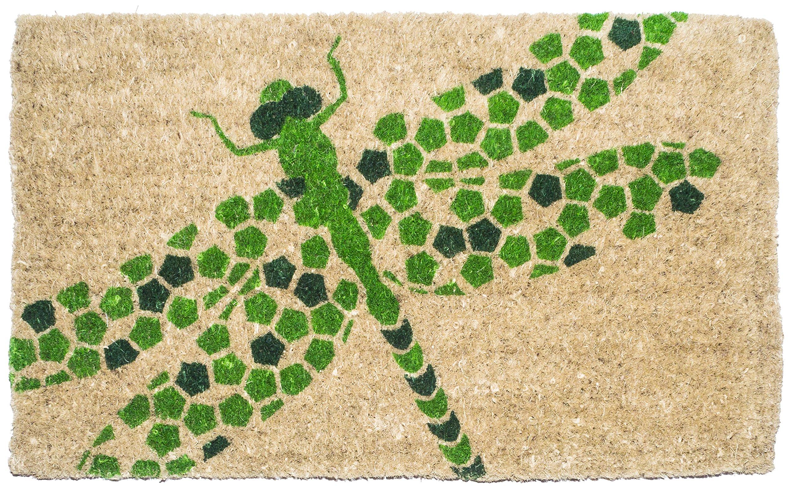 Entryways Dragonfly, Hand-Stenciled, All-Natural Coconut Fiber Coir Doormat 18'' X 30'' x .75''