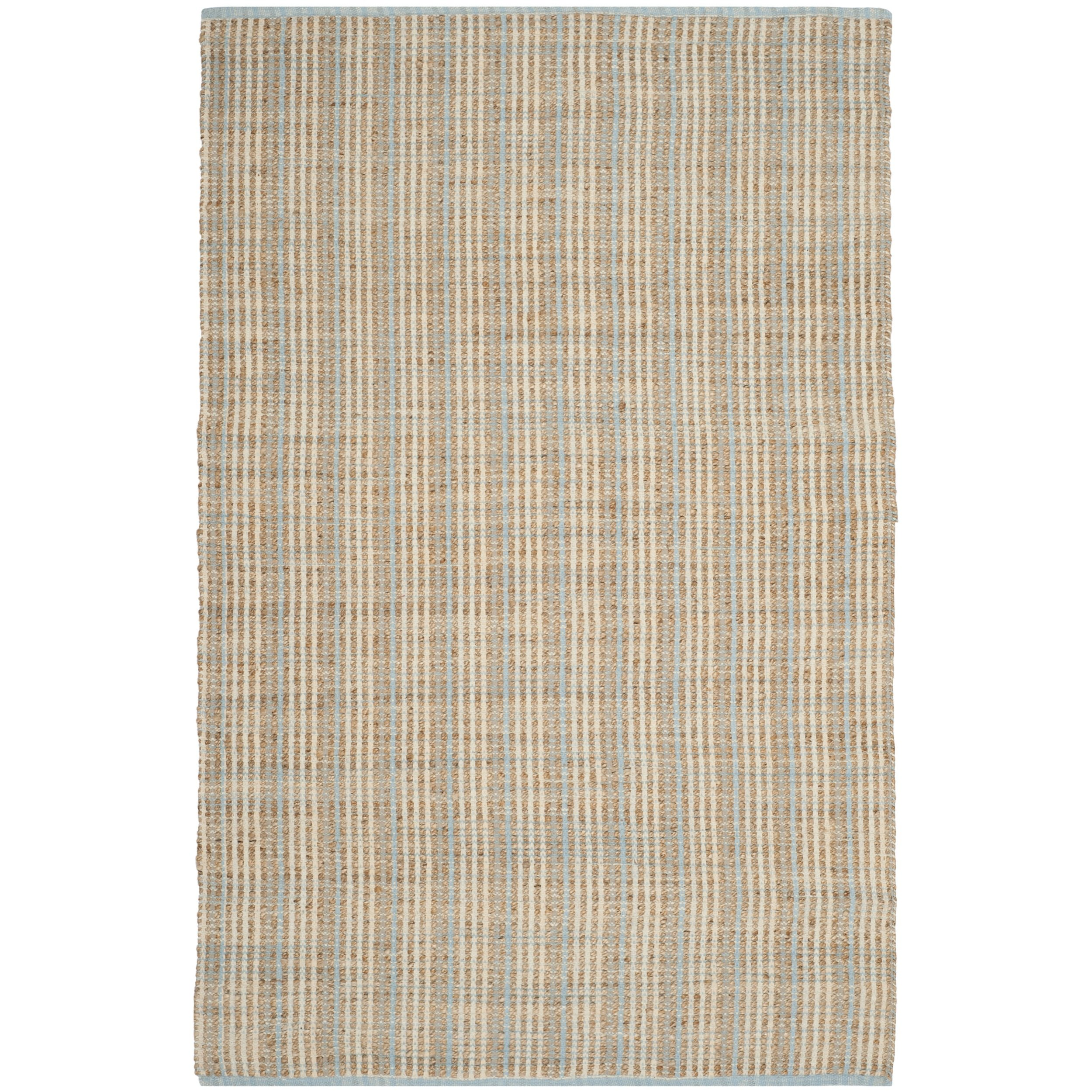 Safavieh Cape Cod Collection CAP831A Hand Woven Natural Jute and Cotton Striped Area Rug (6' x 9')