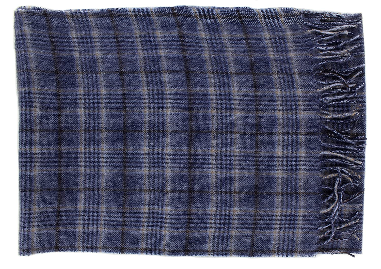 c9c0db43d6a55 Prince of Wales Check Wool Scarf in Blue and Light Brown: Amazon.co.uk:  Clothing