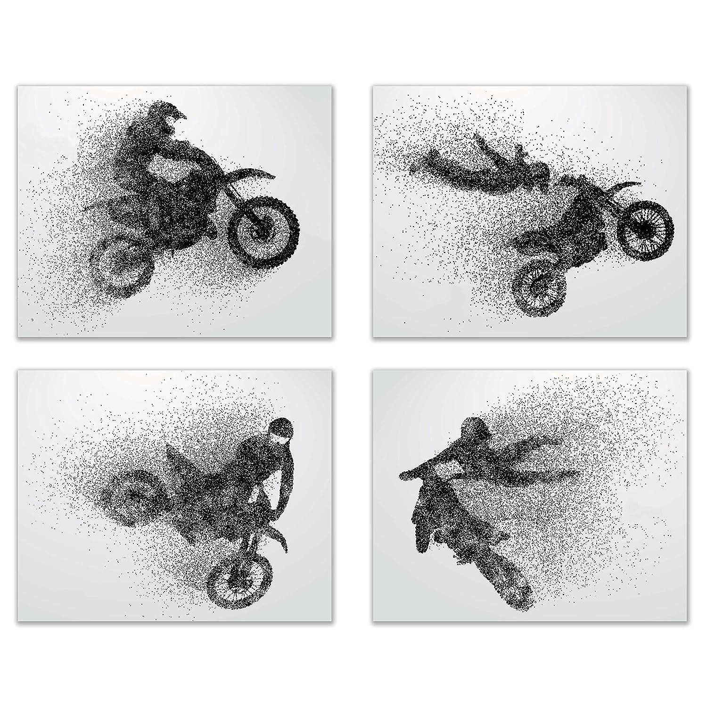 Motocross Dirt Bike Wall Decor Art Prints - Silhouette Set of 4 (8x10) Poster Photos - Bedroom, Man Cave