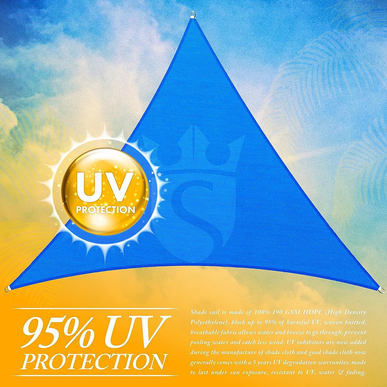 Royal Shade 16 x 16 x 16 Blue Triangle Sun Shade Sail Canopy Outdoor Patio Fabric Shelter Cloth Screen Awning – 95 UV Protection, 200 GSM, Heavy Duty, 5 Years Warranty, We Make Custom Size