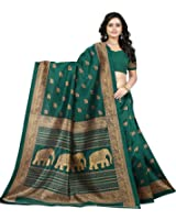 Jaanvi Fashion Women's Art Silk Elephant Motifs Kalamkari Printed Saree (Green)