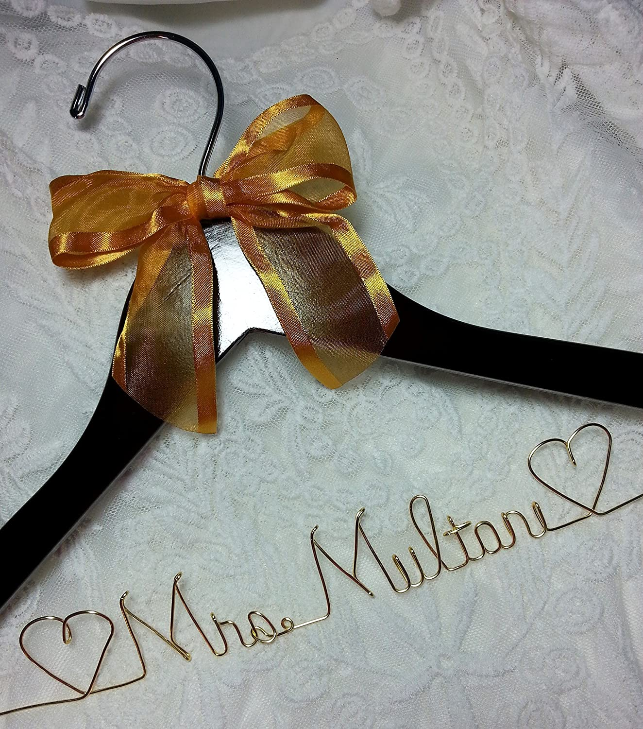 Wedding Dress Hanger -Choice of 12 Bow colors Bride Name Personalized ANY NAME Gold Wire - Dark Wood Bridesmaid Gift
