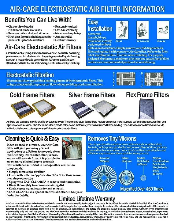 Reusable GOLD FRAME Lifetime Warranty 14x25x1 Electrostatic Washable Permanent A//C Furnace Air Filter