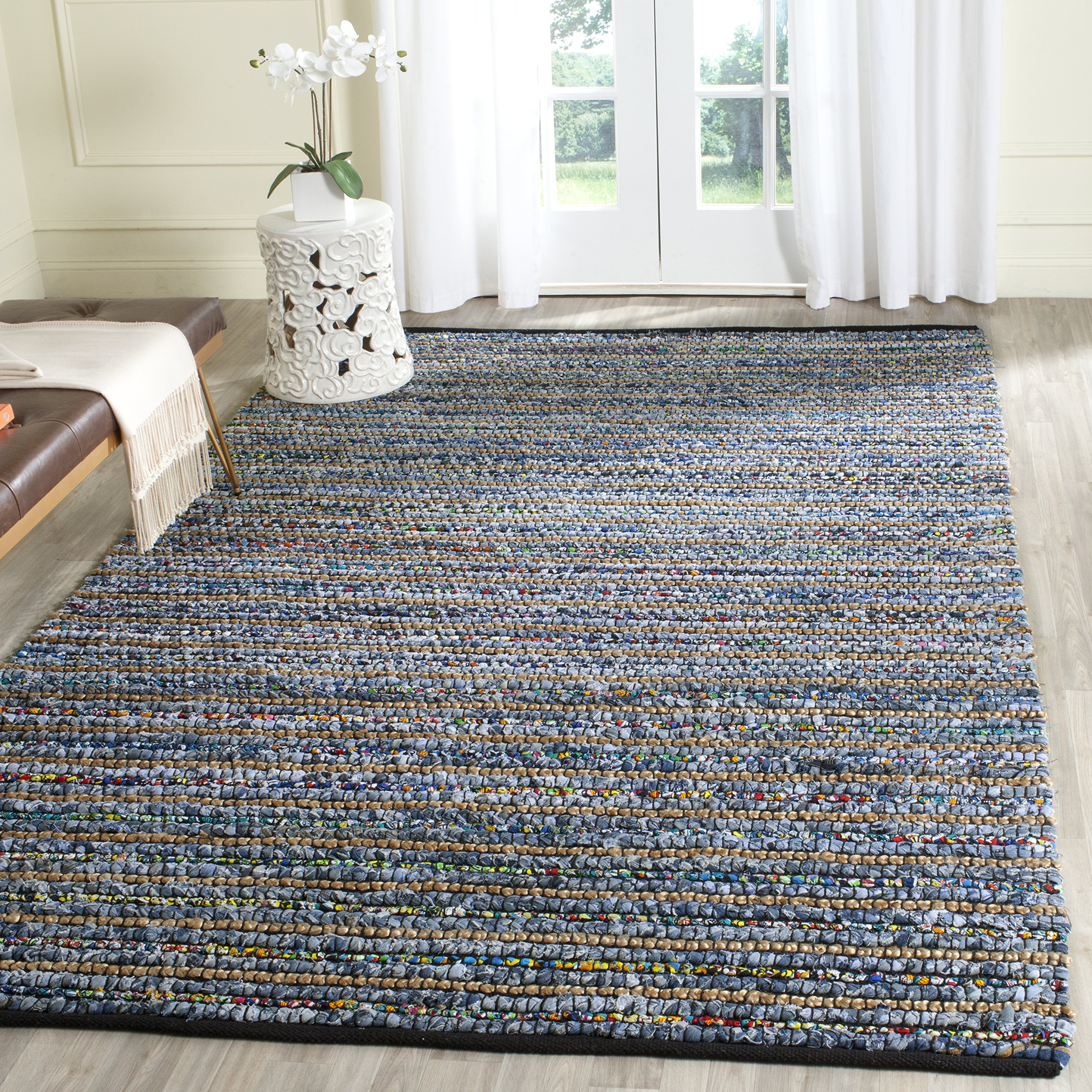Safavieh Cape Cod Collection CAP364A Hand Woven Multi and Natural Jute and Cotton Area Rug (6' x 9') by Safavieh