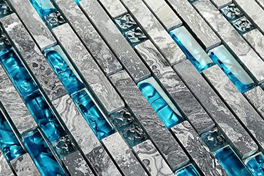 Hominter 5-Sheets Teal Bathroom Backsplash Tile, Blue and Gray Glass Mosaic  Accent Tile, Crystal and Marble Kitchen Wall Tiles, Random Interloking ...