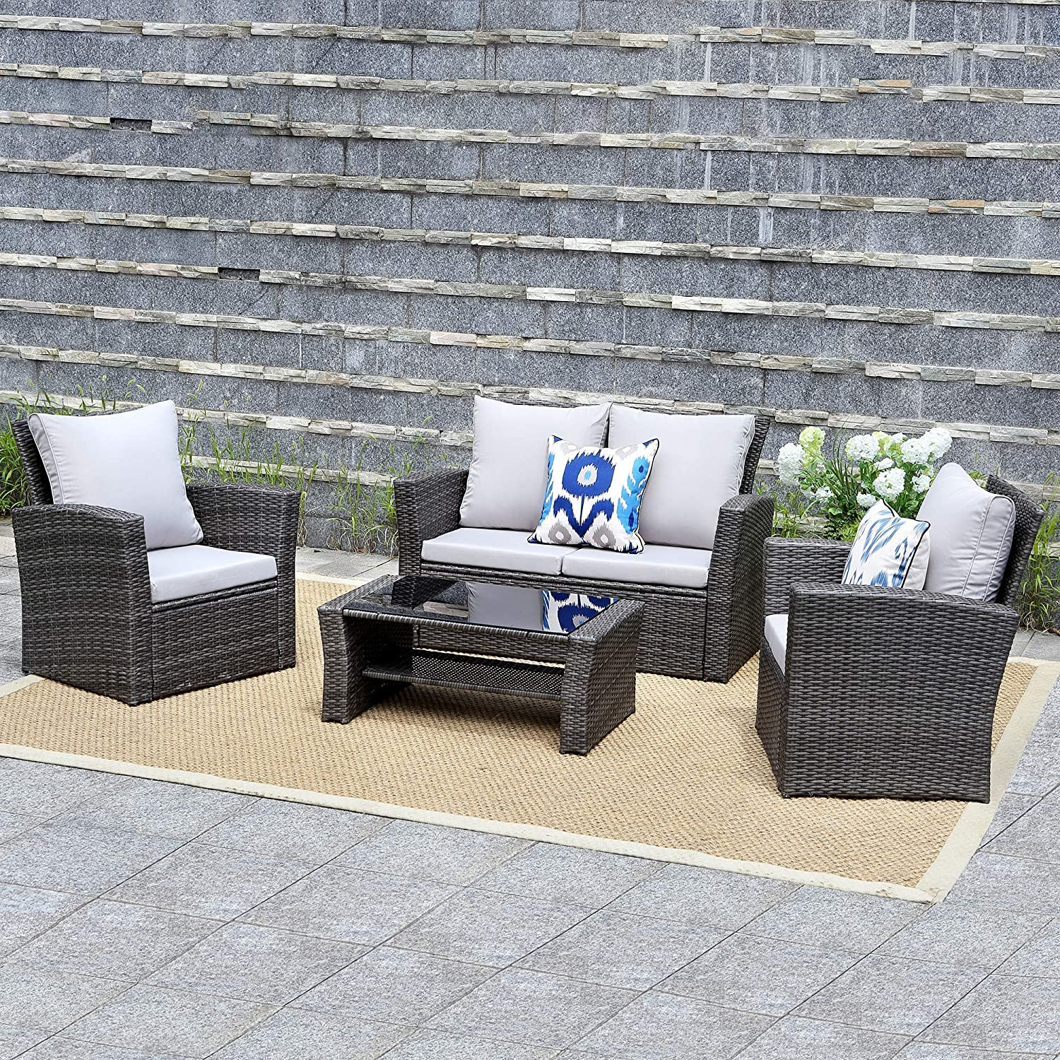 Amazon com wisteria lane outdoor patio furniture set 5 piece sectional sofa couch wicker rattan conversation set chair table seat gray garden