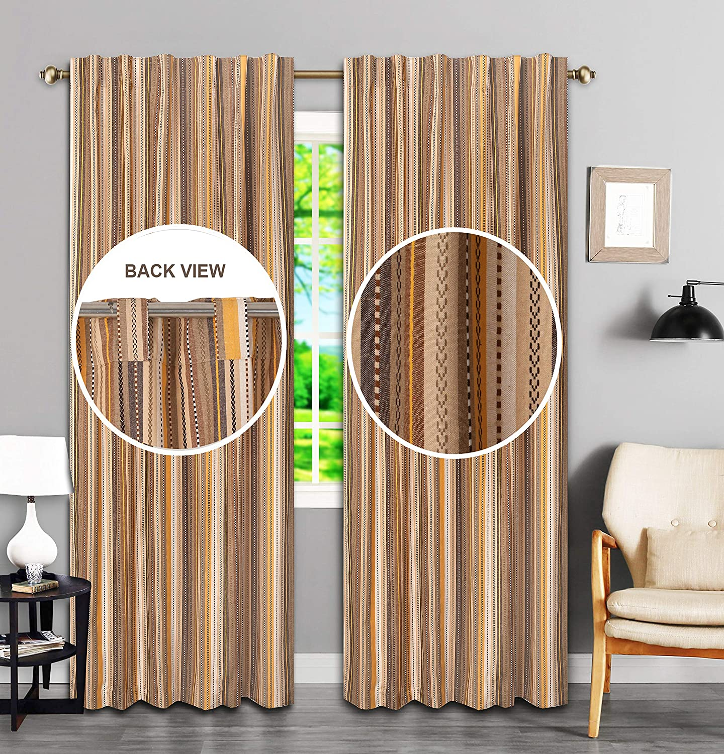 Farmhouse Curtain in Salsa Beige Multi 50x96 inch, Cotton Curtains, 2 Panels Curtain,Tab Top Curtains, Room Darkening Drapes, Curtains for Bedroom, Curtains for Living Room, Set of 2
