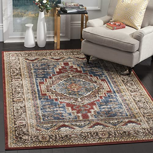 Safavieh Bijar Collection BIJ636B Traditional Oriental Vintage Royal Blue and Brown Area Rug 3 x 5