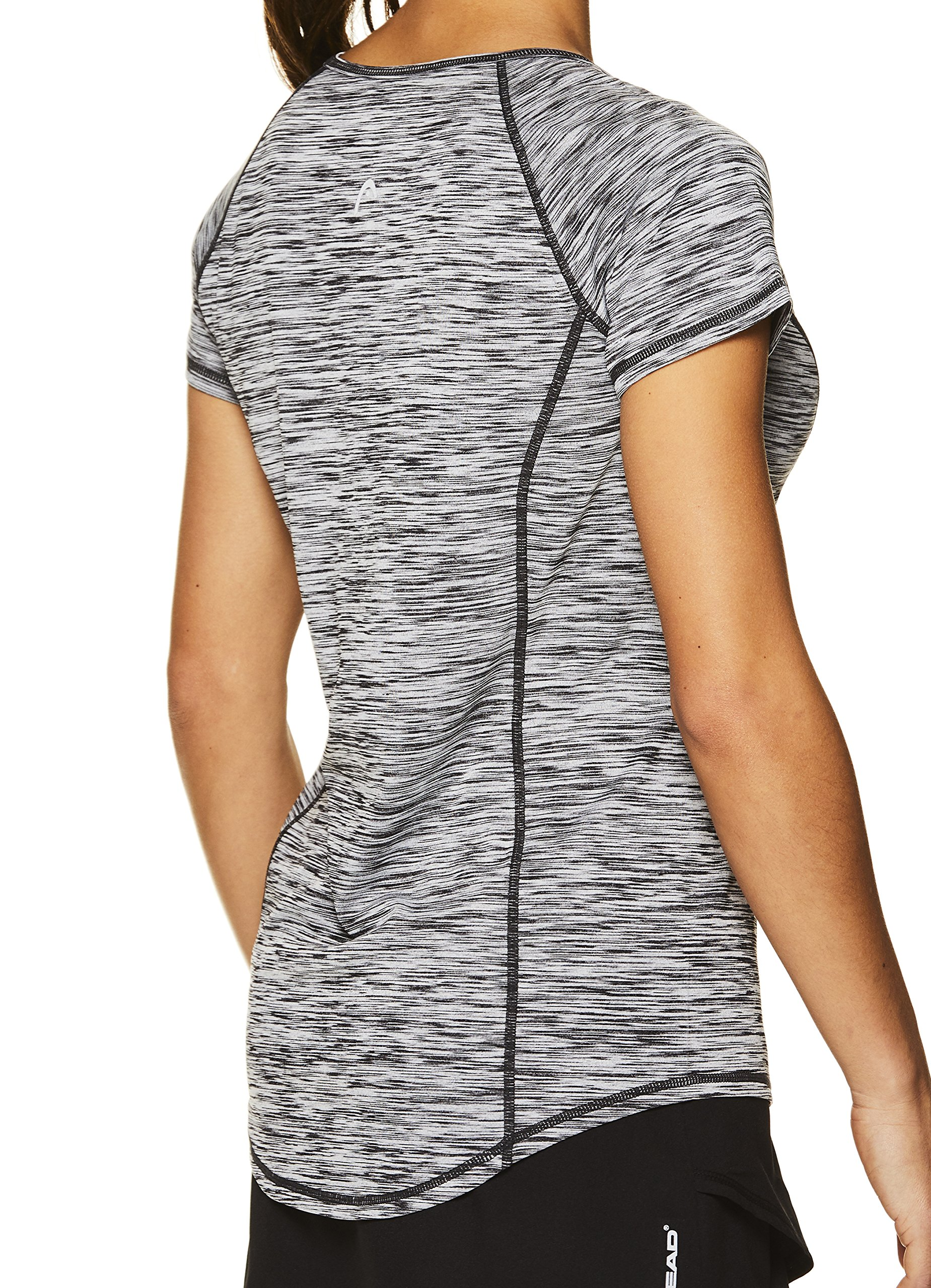 HEAD Women's Serena Short Sleeve Workout T-Shirt - Performance Crew Neck Activewear Top - Black Heather, X-Small by HEAD (Image #2)