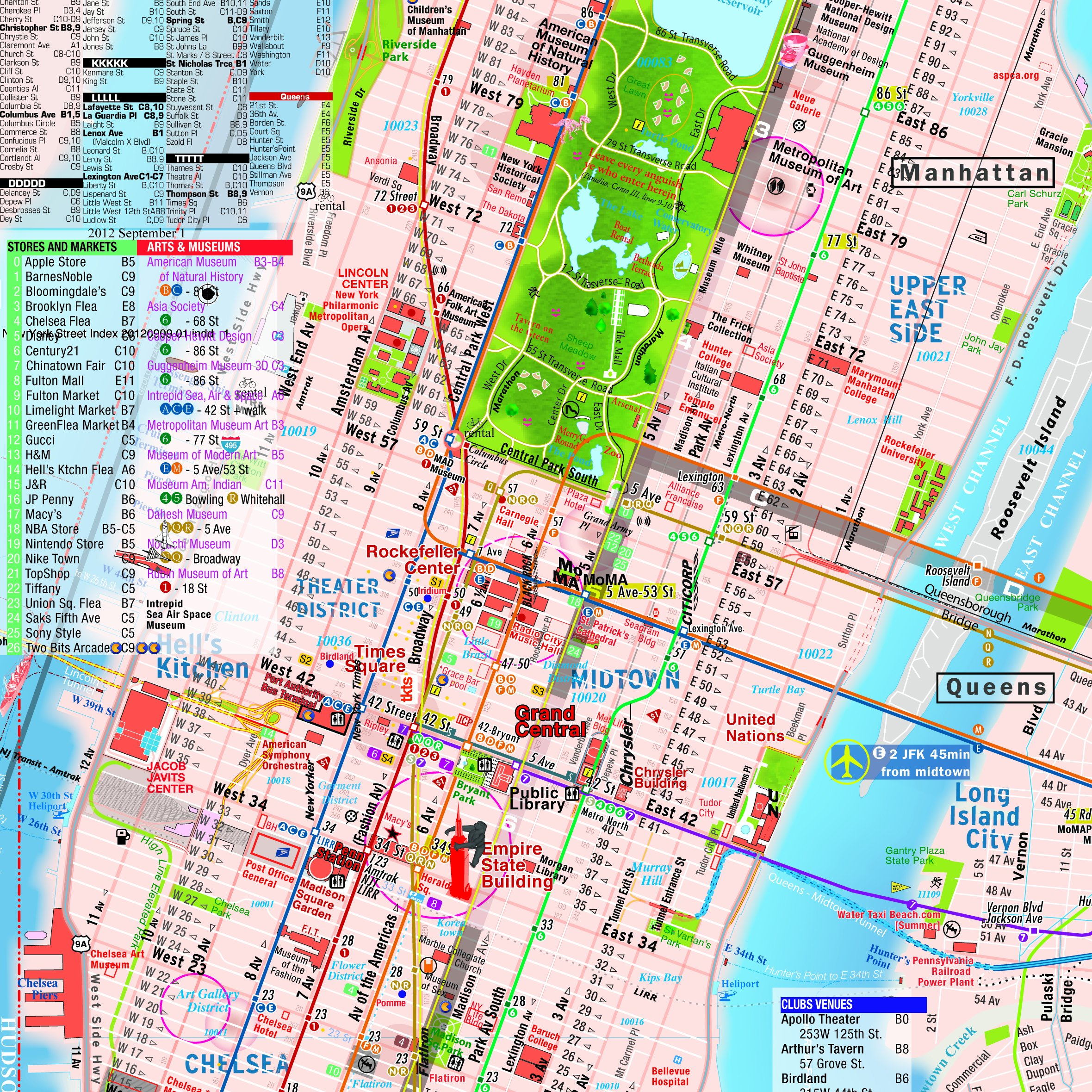 TerraMaps NYC Manhattan Street And Subway Map Waterproof AR - Nyc map