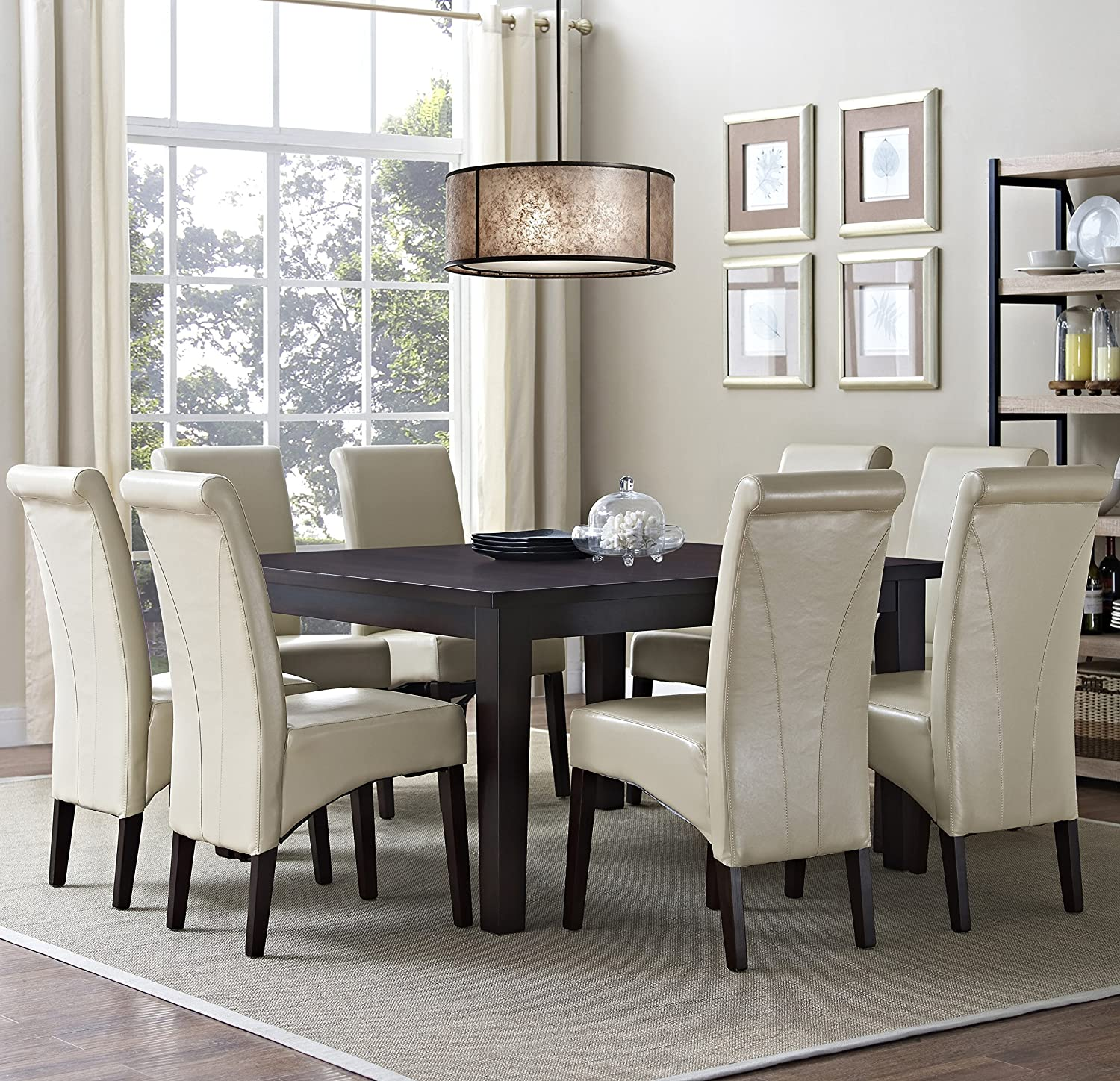 amazon com simpli home 9 piece avalon dining set satin cream amazon com simpli home 9 piece avalon dining set satin cream kitchen dining