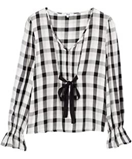 FIND Women's Blouse with Tie Front and Checks, Multicolour (Black Mix), 8 (Manufacturer size: X-Small)