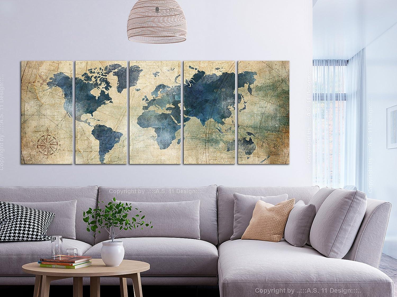 Carte du monde en impression sur toile au design rétro