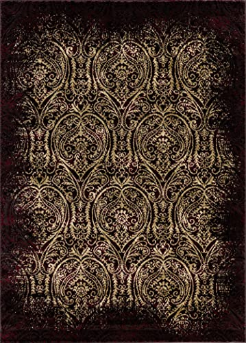 Mod-Arte Crown Collection Area Rug Contemporary Traditional Style Red Vintage 7 8 x 10 2