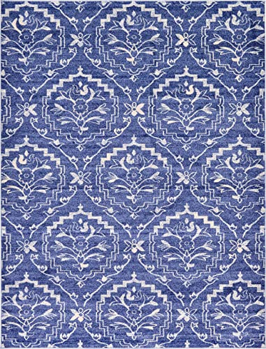 Unique Loom Damask Collection Traditional Floral Blue Area Rug 9 0 x 12 0