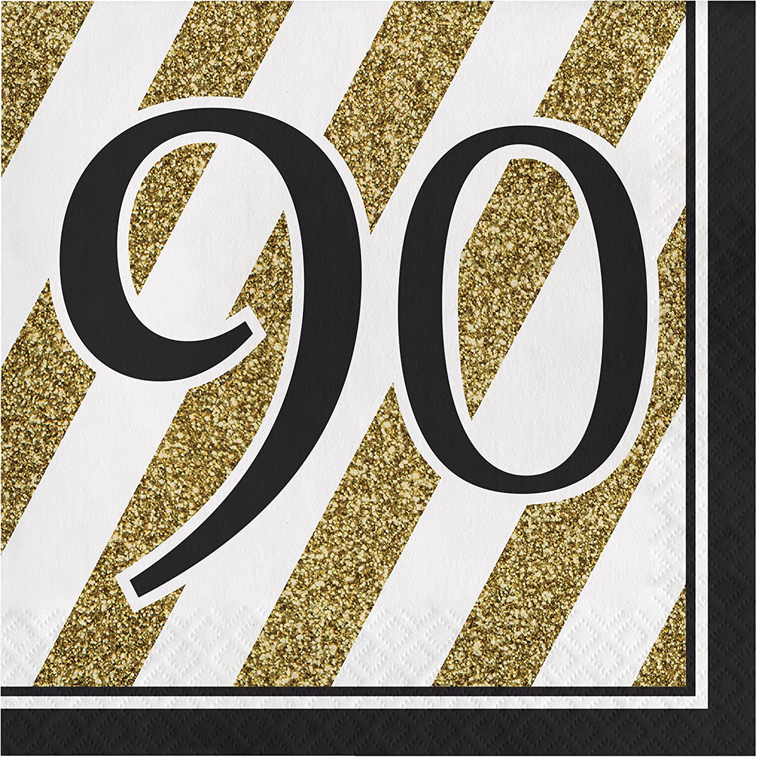 Black and Gold 90th Birthday Napkins, 48 Count supplier
