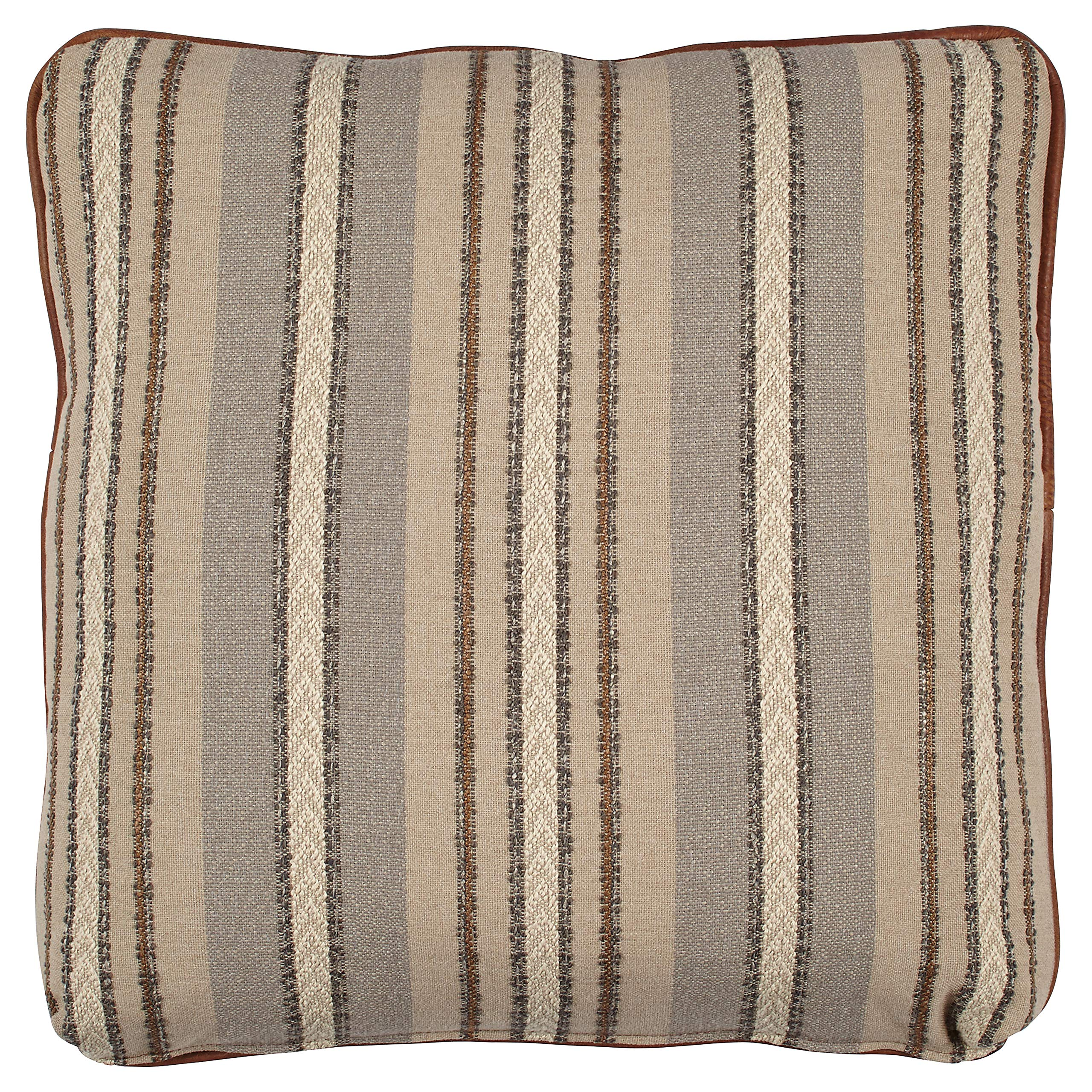 Stone & Beam Leather and Rustic Stripe Reversible Pillow, 19'' x 19'', Brown and Blue