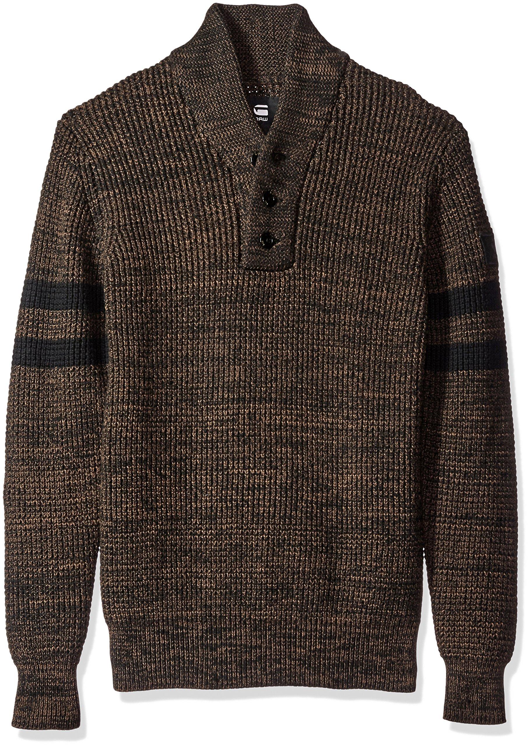 G-Star Raw Men's Dadin Sport Shawl Collar Sweater, Dark Black/Dark Bison, Small