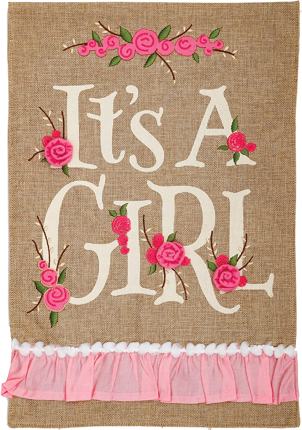 Custom Decor It's a Girl - Garden Size, Emboidered Applique Style, Double Sided Decorative Flag - Approx. 12 Inch X 17.98 Inch