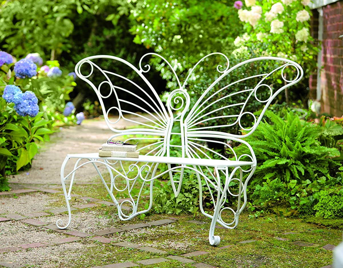 "Plow & Hearth Weather-Resistant Butterfly Garden Bench, Metal - White - 60¼""L x 17¾""D x 39½""H"