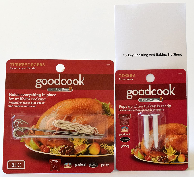 Good Cook Pop Up Timer,Good Cook Turkey Lacers, Turkey Roasting Tip Sheet. Holiday Christmas Oven Baking Bundle
