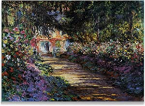 Monet Wall Art Collection Canvas Pathway in Monet's Garden at Giverny, 1901 Prints Wrapped Gallery Wall Art | Stretched and Framed Ready to Hang 36X48